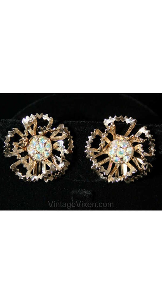 Metalwork Flower Earrings - Spring Goldtone 1950s Clip Earring - Bold Blooms - Classic Mid Century - Rhinestones - Mint Condition - 38441-1