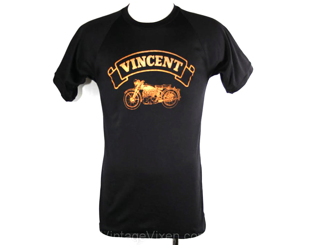 Men's Small Biker T Shirt - 1970s Vincent Motorcycle Tee - 70s Mens Retro T-Shirt - Black & Metallic Motor Cycle - Chest 37 - 33895