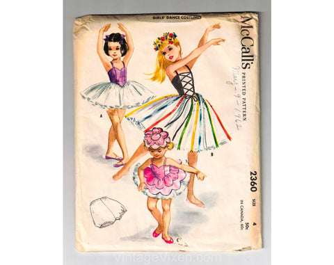 1959 Girl's Ballet Costume Sewing Pattern - 1950s Size 4 Little Girls Ballerina Outfit - Leotard Bodice & Tutu Skirt - Chest 23 McCall 2360