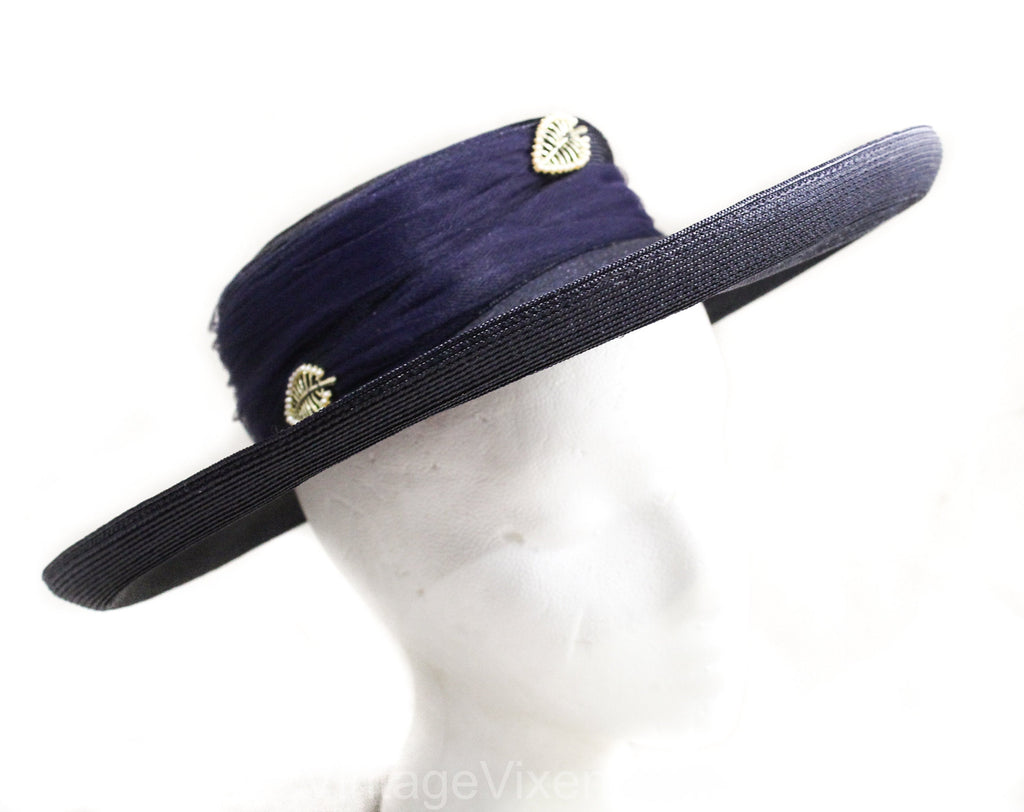 1950s Navy Wide Brim Hat - Chic Dark Blue Faux Straw with Tulle & Goldtone Leaves - Spring Summer Millinery 50s Cartwheel Picture Hat