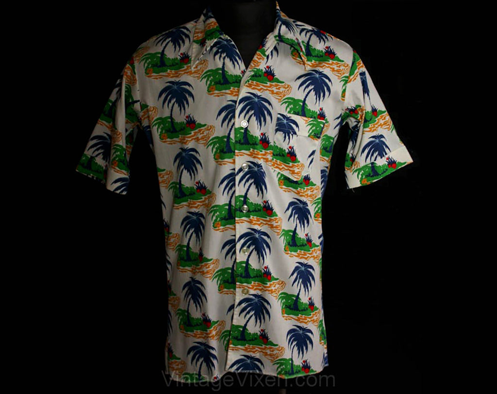 Men's Medium Aloha Shirt - 1960s Palm Island Novelty Print Cotton Mens Hawaiian Style Top - Bright Tropical Colors - 60s Summer - Chest 43