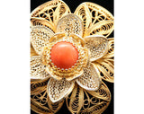 Airy 10KT Gold & Silver Filigree Pin with Carnelian Detail - Made In Italy - 50s Brooch - Spring - Orange - Italian - Deadstock - 40130-1