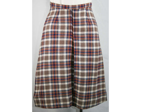 XS Cocoa & Blue Plaid Wool Tweed Skirt - Size 0 to 1 Girl Friday Style Tartan - Waist 23 - 60s Deadstock - Mint Condition - NWT - 33435-1