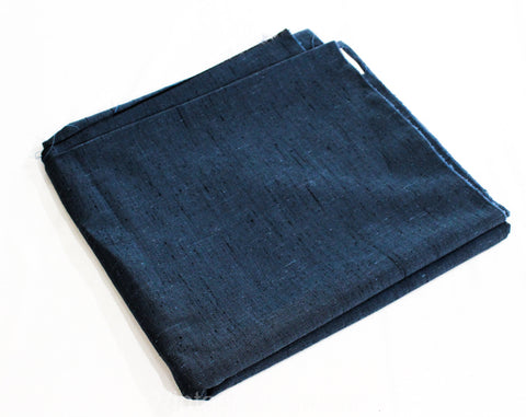 Blue Thai Silk Fabric - Over 6 Yards Cornflower Denim Black Hues - 50s 60s Yardage - Flecked Nubby Fine Woven Silk Rayon Blend Material