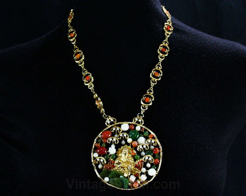 Swoboda Pendant Necklace - Asian Buddha Crane - Jade & Carnelian - Carved Flowers - Ornate 1970s Designer Jewelry - Statement Piece - 42642