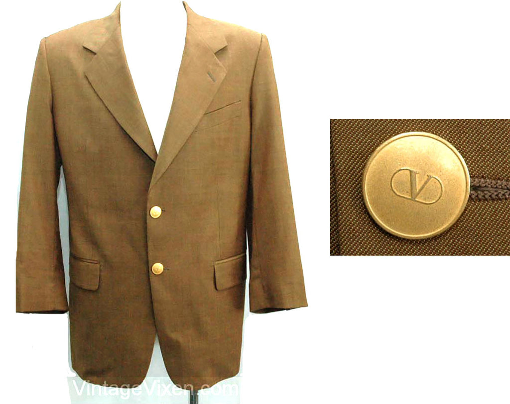 Men's Medium Valentino Blazer - 1990s Designer Brown Mens Suit Jacket - 90s Sport Coat - Fine Quality - Uomo Label - Saks Fifth Ave - 25361
