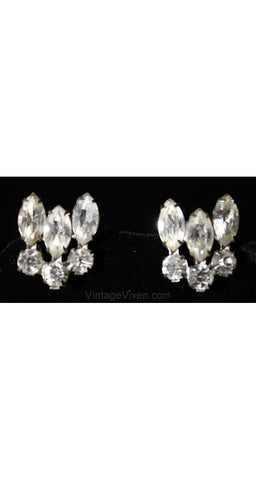 Vintage 1950s Rhinestone Exclamation Earrings - Clear Glass 50s Screw Backs - Grammar Glamour - Cocktail Hour Style - Screwbacks - 36440-1