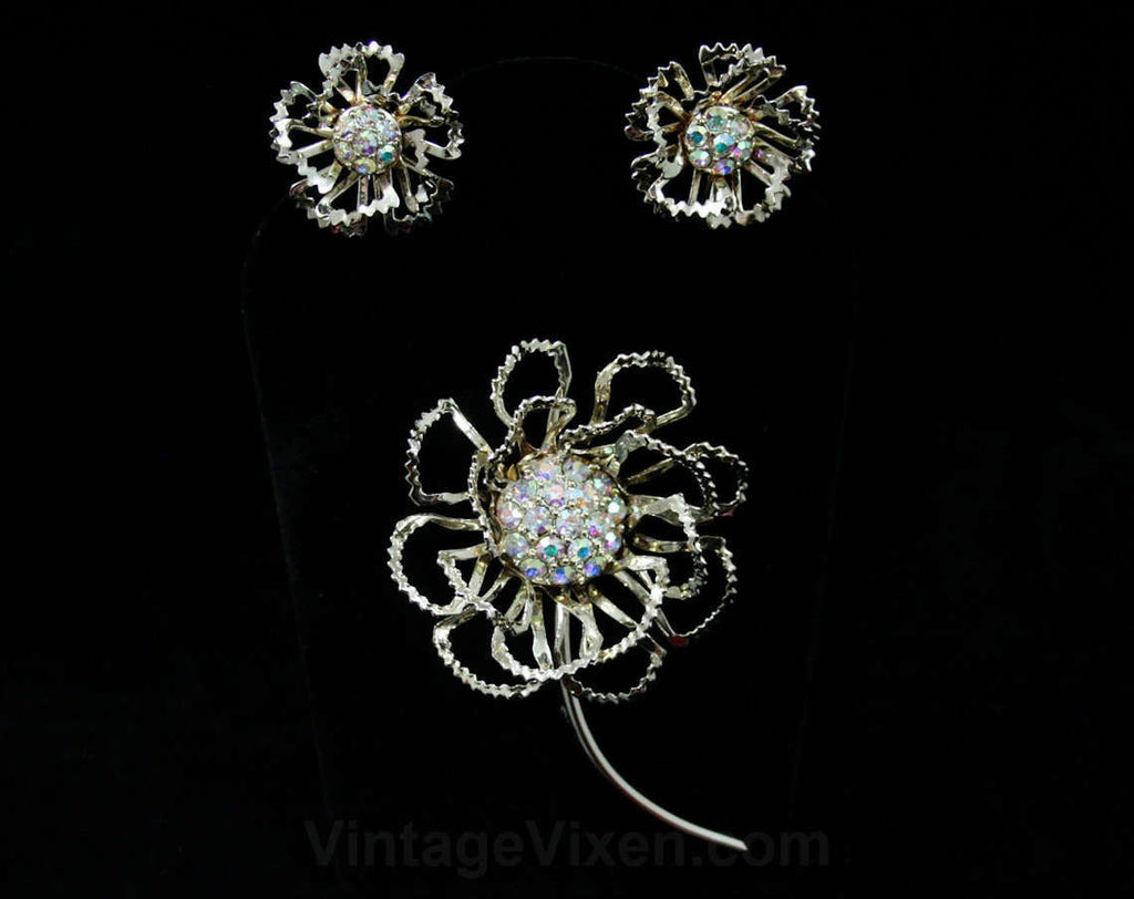 Airy Petals Pin & Earrings - Glam Rhinestones - 1950s 1960s Gift Idea - Gold Demi Parure - Long Stemmed Flower - 50s - 60s Deadstock - 42437