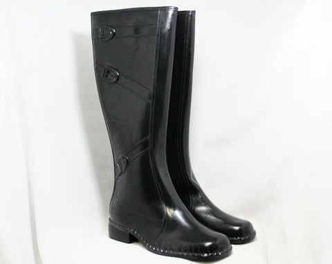 Size 6 Trompe L'Oeil 60s Black Boots - 1960s Waterproof Rubber - Sophisticated 1960s - Faux Buckles - Fleece Lined - Unworn NOS Deadstock