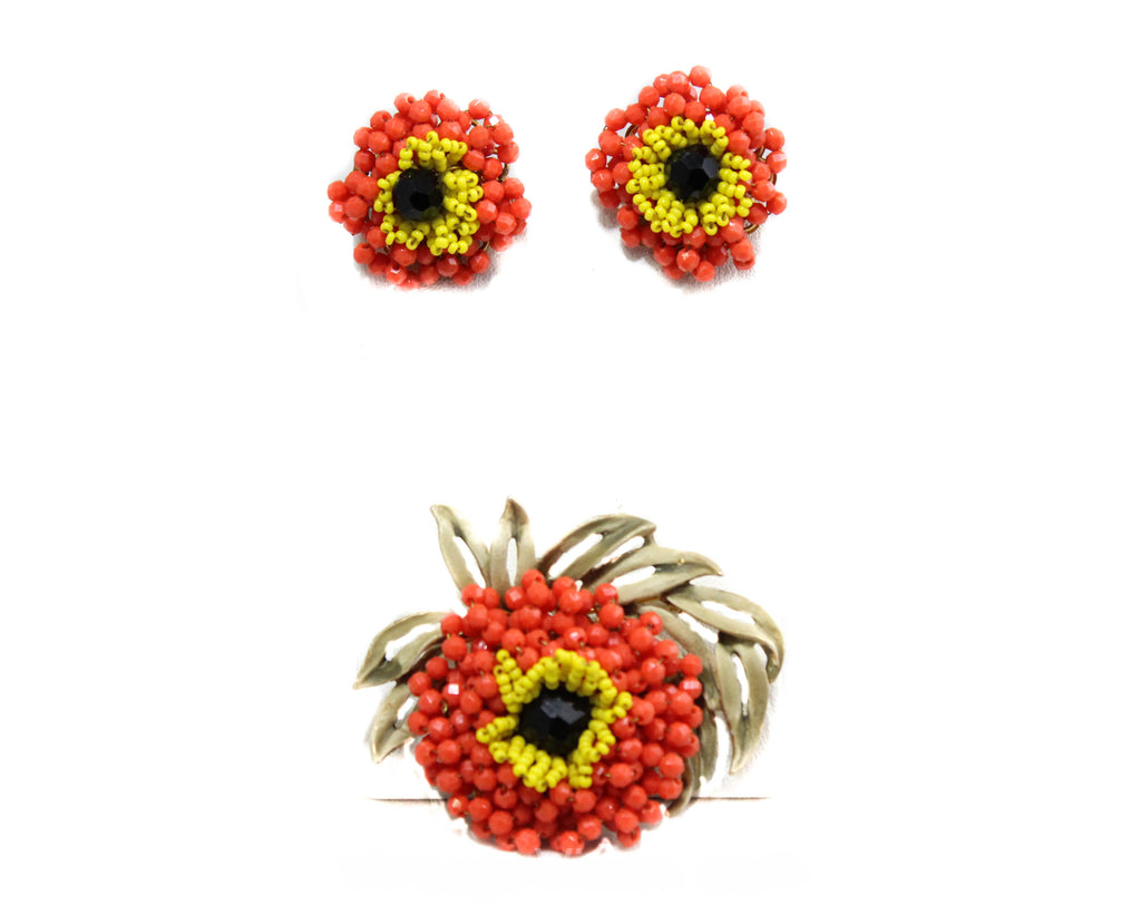 Vendome Brooch & Earrings - Orange 1960s Beaded Flowers - Tangy Summer Colors - Designer 60s Demi Parure - Hand Wired Beads - 50593