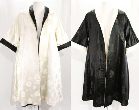 XL 1950s Evening Coat - Size 20 Asian Silk Satin Brocade - 50s Reversible Black & White Formal Coat - Gorgeous Quality from the Far East