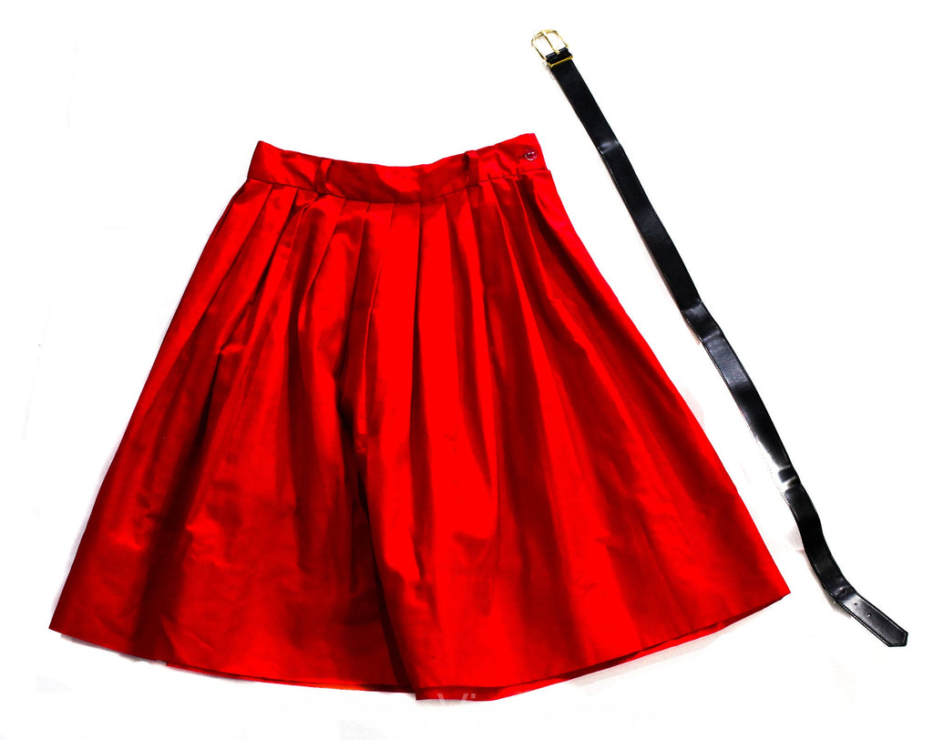 1950s Girl's Red Full Skirt - Cotton Pleated 50s Cotton Cute Bobby Soxer Era - Children's Size 10 12 Pre Teen - Original Belt - Waist 24.5