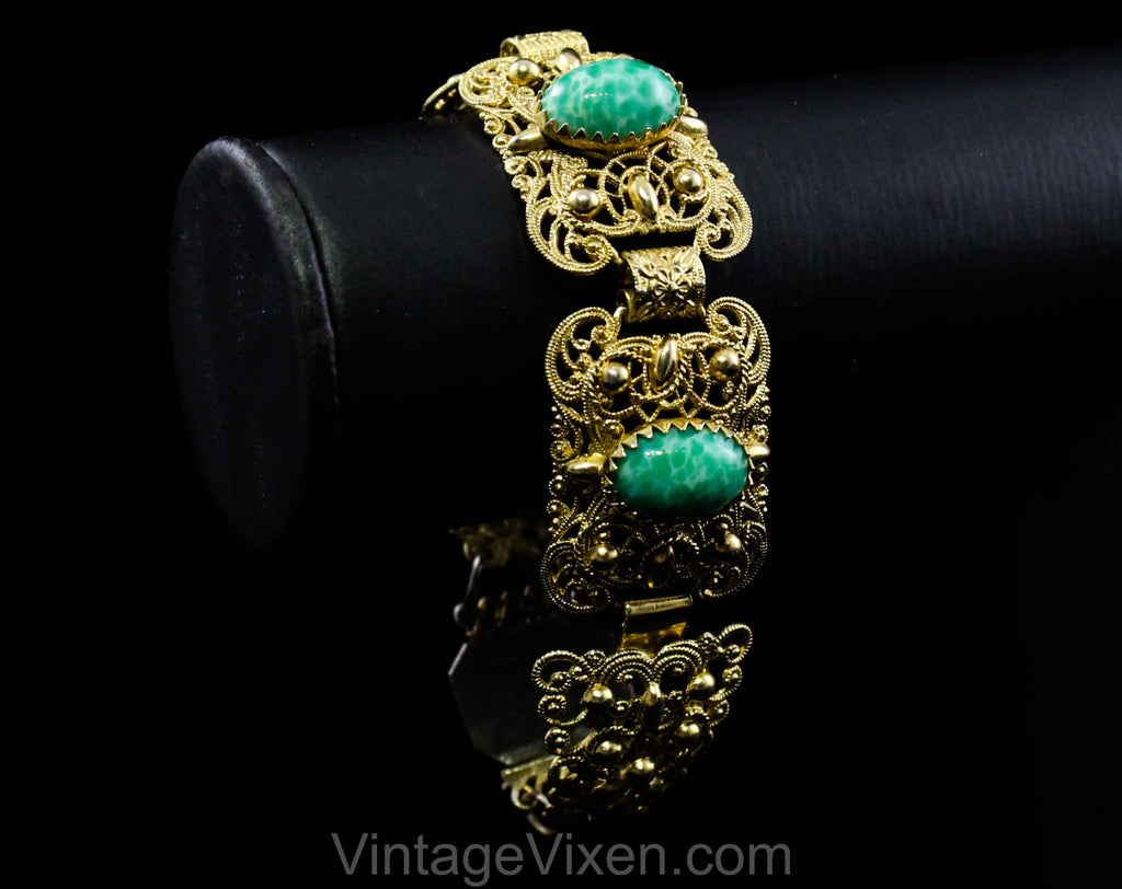 1950s Baroque Style Bracelet - Ornate Victorian Inspired Gold Hue Filigree - Marbled Green Oval Cabochons - 50s 60s Antique Look Panels