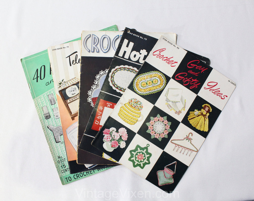 Lot of 5 1940s 50s Crochet Novelty Patterns - Pot Holders - TV & Radio Scarfs - Crochet for your Home - Hot Plate Mats - Gay and Gifty Ideas