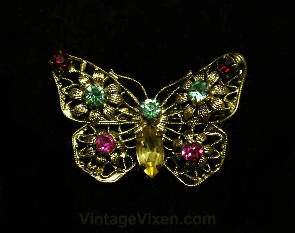 Antique Style Butterfly Pin - Victorian Style 1950s Brooch - Spring - Bejeweled Red Green Pink Rhinestones - 50s Filigree - Mint Condition