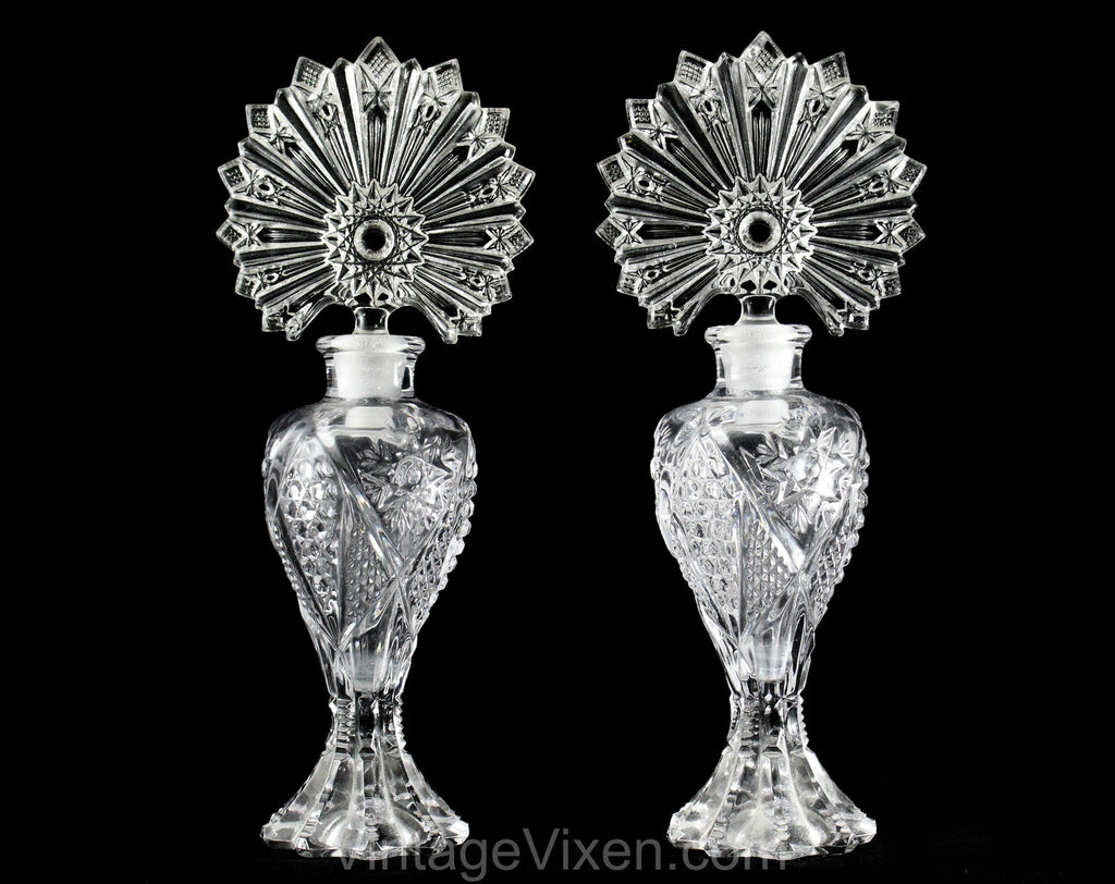 Matched Pair Art Deco Style Perfume Bottles - Clear Pressed Glass Starburst Sunburst Design - 1940s 50s Glam Boudoir Vanity - Two Containers