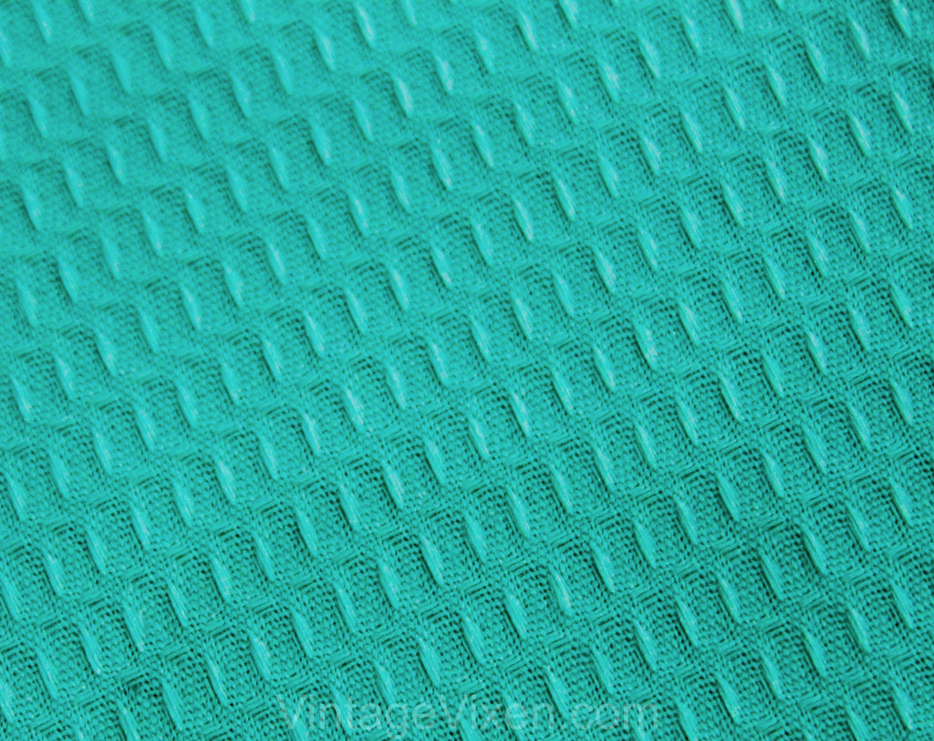 50s Robin's Egg Blue Fabric - 2.5 Yards x 44 1/2 Inches Turquoise Waffle Cotton Pique - 1950s Summer Dress Skirt Pants Shorts Yardage