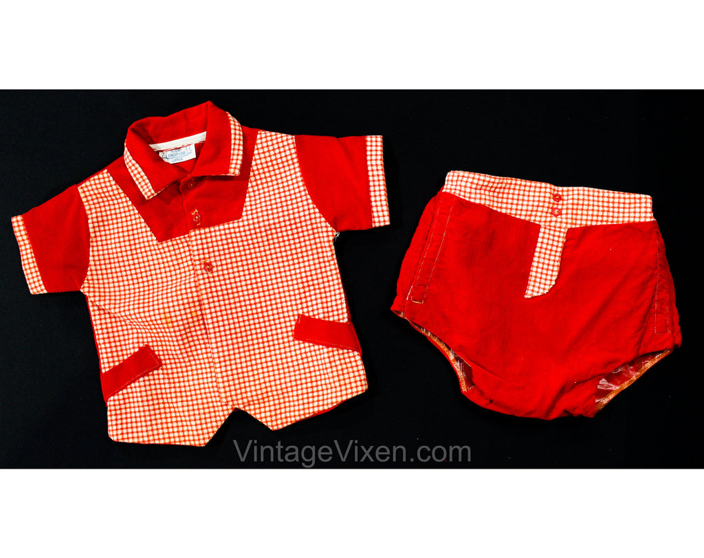 1950s Baby Boy's Red Corduroy Shirt & Short - Size 6 to 9 Months - Little Ricky - Infant Boys Checked 50s Outfit - Waterproof Diaper Cover