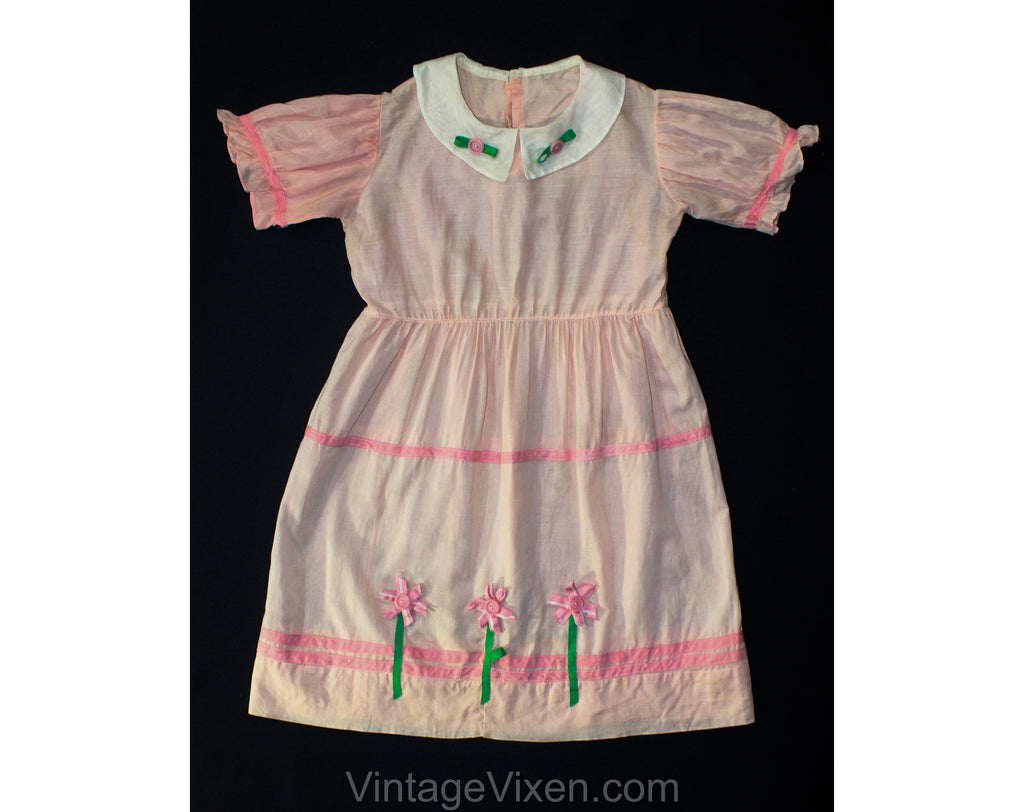 Quaint Girls Pink Cotton Dress - Girl's Size 10 Summer Frock with Flowers - 50s Childs Charming Portrait Style - Cute Appliques - Bust 31