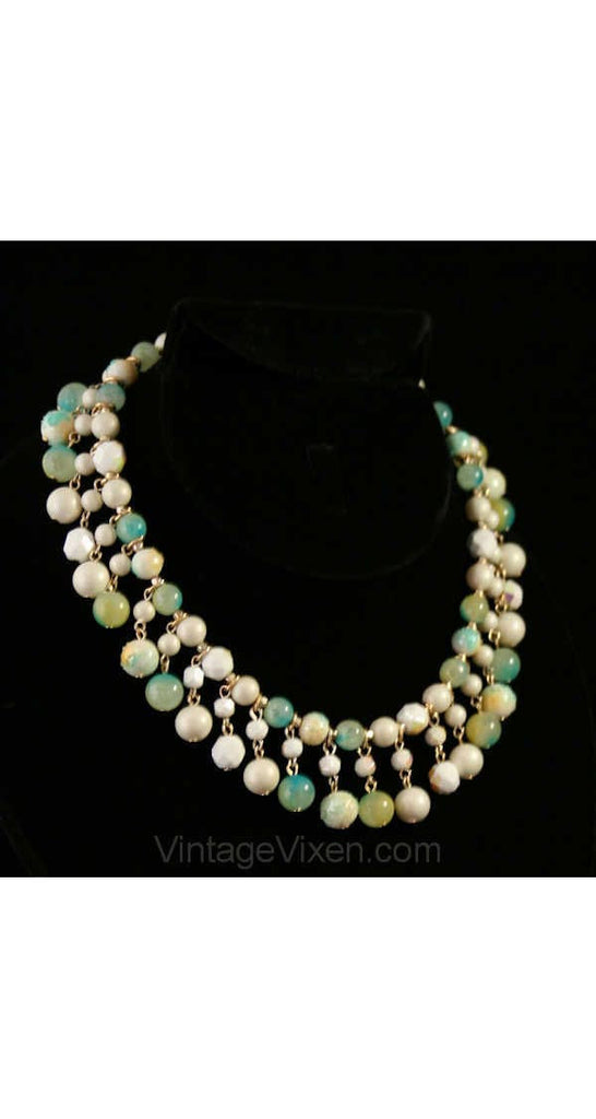 1950s Necklace - Mermaid Hues Aquatic Sea Blues & Greens - Sugared Beads with Dangling Design - 1950s Pretty Beach Princess - Spring Summer