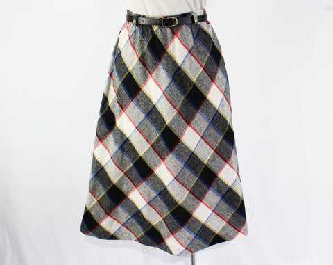 Size 8 Plaid Skirt - 1980s Retro Preppy Style - 50s Look - Black Red Blue White Bias Cut Faux Wool 80s Skirt & Original Belt - Waist to 28