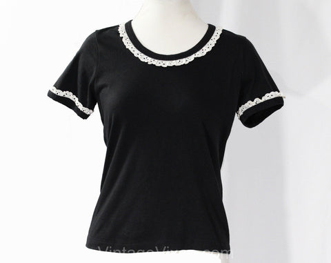 XS Cute Black Tee - Size 2 Black Cotton Jersey 70s 80s T Shirt - Casual Preppy TShirt with White Eyelet Lace Trim - Summer Top - Bust 33