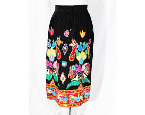 XL 1980s Bohemian Skirt - Black Boho Hippie Plus Size with Vivid Appliques Sequins & Mirrors - 80s 90s Fiesta - Size 20 22 - Waist up to 42