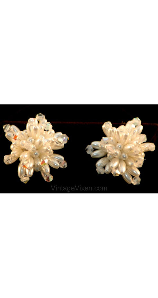 1950s 1960s Pearl Burst Beaded Earrings - Feminine 50s Clip Earring - White Faux Pearls