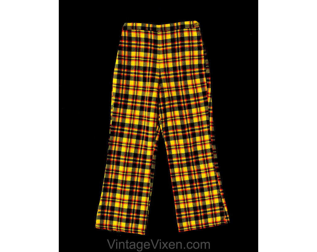 Child's Size 8 Plaid Pants - 1960s Girls Mod Wide Leg Trousers - Yellow Red Black 60s Tweedy Tartan Children's Bell Bottoms - Waist 22.5