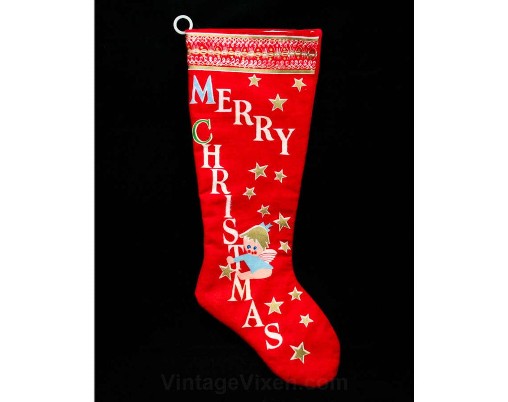 60s Christmas Stocking - Red Flannel - Silly Angel - Merry Christmas - 1960s - Holiday Style - Sequins - Beads - Metallic - 42800
