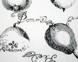 French Fruits Apron - Black & White - 1950s - Pommes - Lemones - Citron - Pears 41508