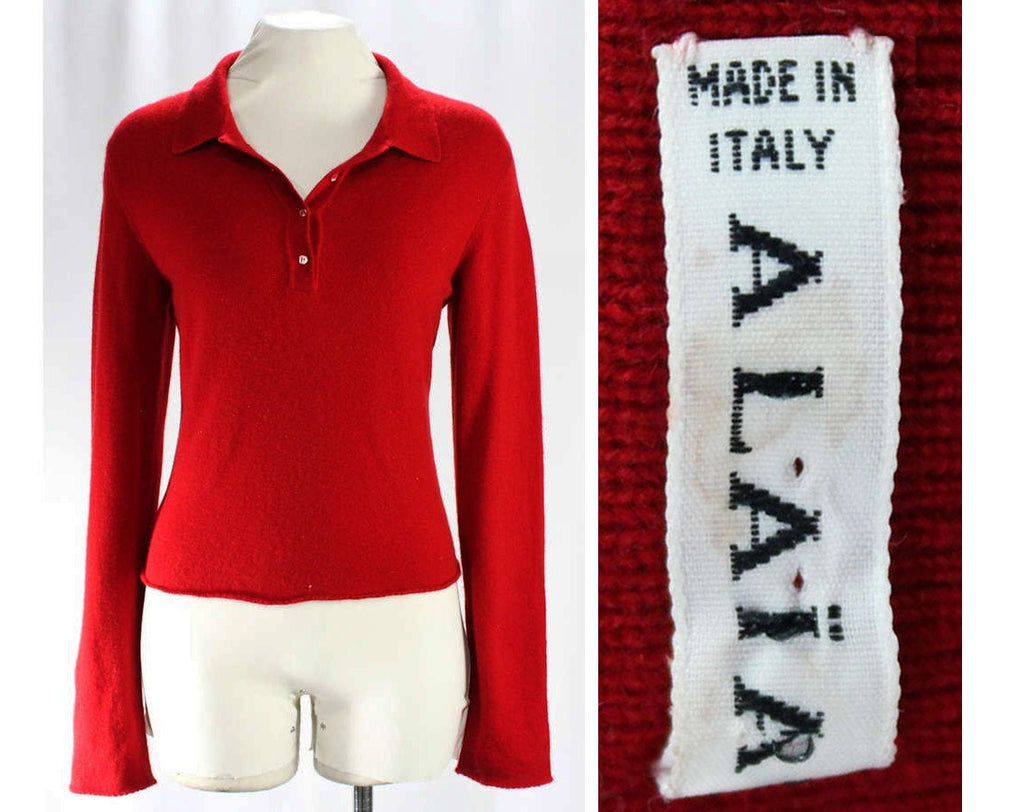 Size 10 Alaia Cashmere Sweater - Crimson Red Luxurious Designer Italian Knit Pullover - 100% Pure Cashmere - Italy - Polo Neck - Bust 37