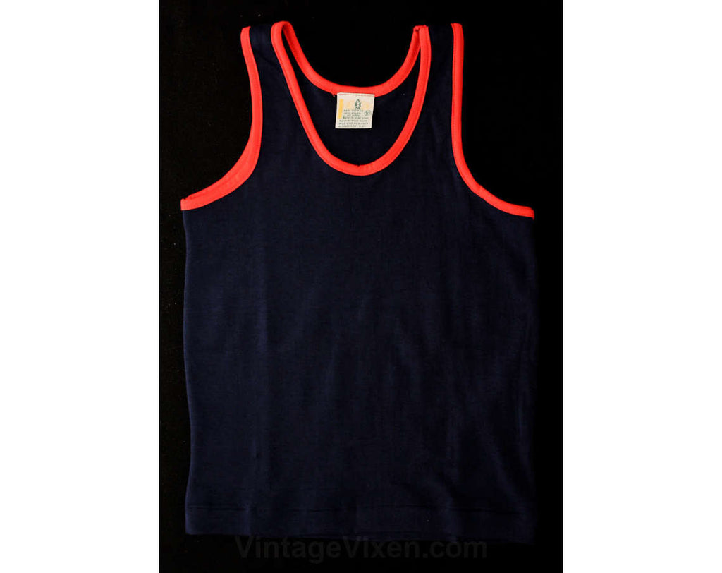 Child Size 7 Summer Shirt - Classic Retro 1970s Navy Blue Tank Top with Red Trim - Girls or Boys - Athletic 70s Children's - NOS - 37178-1