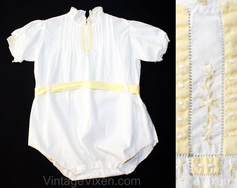Charming 1920s Toddlers White Cotton Chemise Style Romper with Yellow Art Nouveau Embroidery - Size 18 Months - Infant Child's Bubble Suit