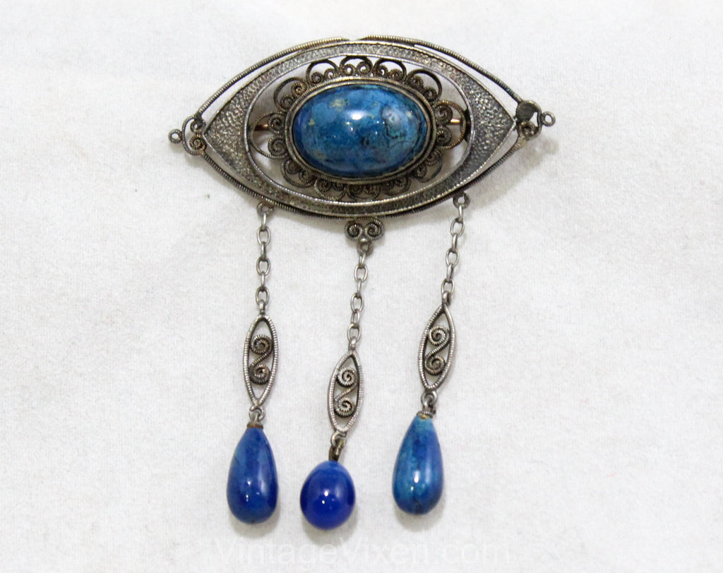 Antique Style Brooch with Lapis Lazuli Blue Glass Stones - Boho Victorian Inspired Pin - 1970s Antique Revival Jewelry - Dangling Teardrops