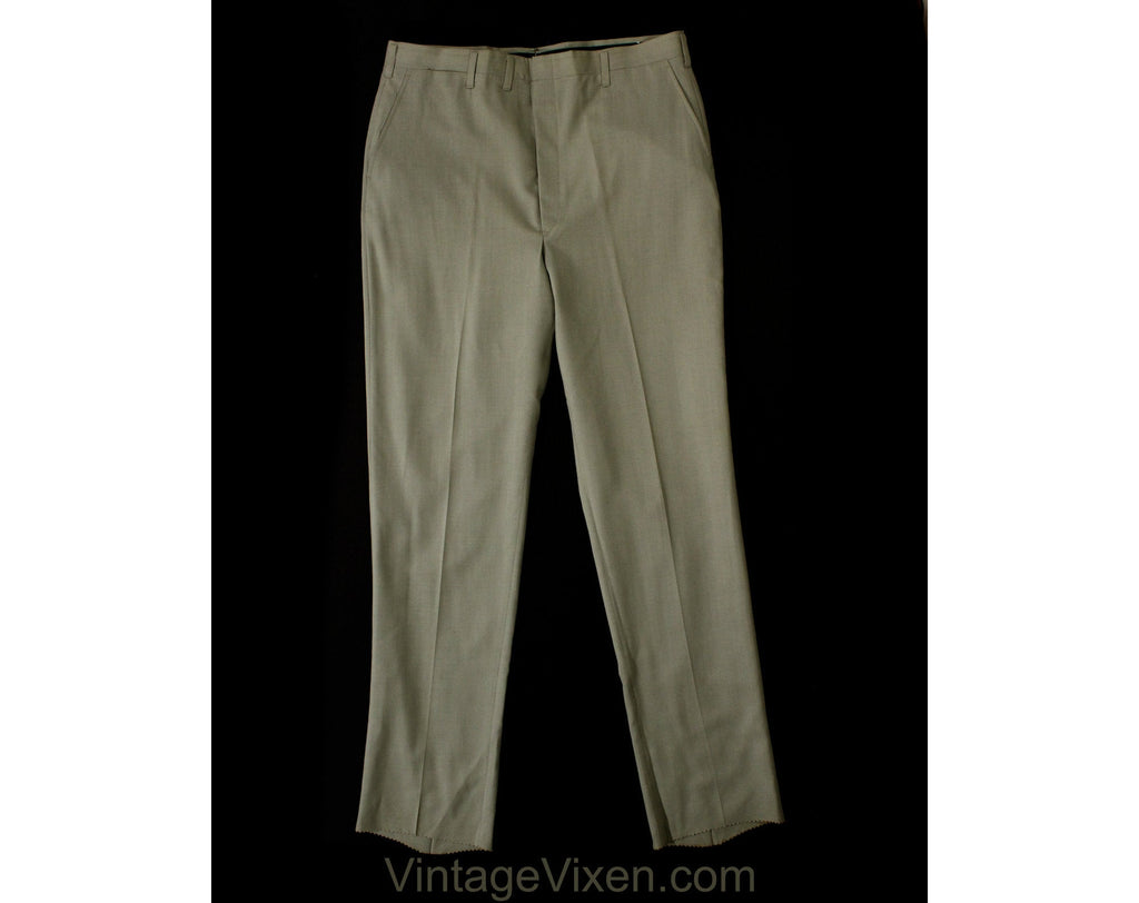 Men's Large & Tall 60s Dress Pants - Mod Late 1960s Neutral Gray Tailored Pant - Hampton Trouser - NWT Deadstock - Waist 37 - Inseam 37.25