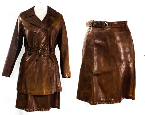 Size 4 1960s Leather Jacket & Matching Mini Skirt - Mod Beatnik Street Chic Brown Coat Set - Tailored 3/4 Length 60s Outerwear - Waist 25