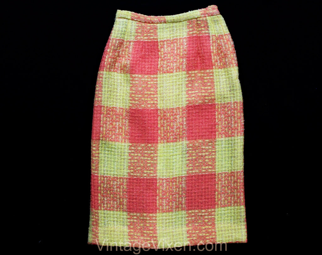 XXXS 60s Boucle Tweed Pencil Skirt - Melon Orange & Yellow Wool - 1960s Office Secretary - less than Size 000 - Waist 21.5 - NWT Deadstock