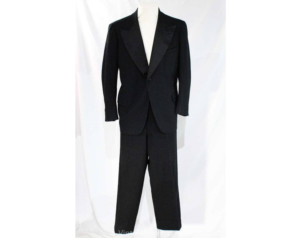 Men's 1940s 50s Tuxedo - Large Size Black Wool Mens Formal Wear Tux Jacket and Trousers - Rogers Peet Evening Suit - Pants 40 x up to 32""