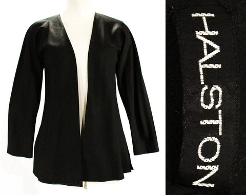 Size 4 Halston Jacket - Elegant Black Bias Cut Silk with Slant Seaming - 1970s 80s Minimalist Designer - Open Front - Gorgeous! - Bust 32.5
