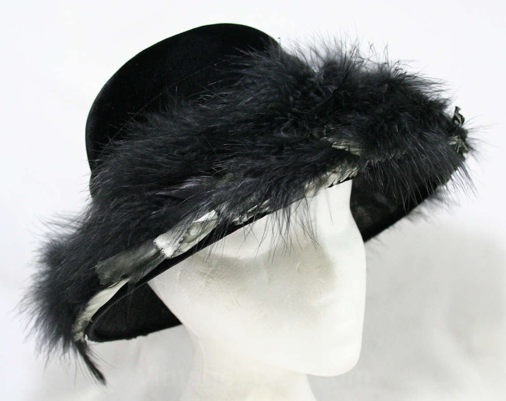 Dramatic Black 1950s Hat - Marabou Feathers & Black Velvet Evening Millinery - Satin Leaves - 50s 60s Saucer Brim - Miss Nina New York