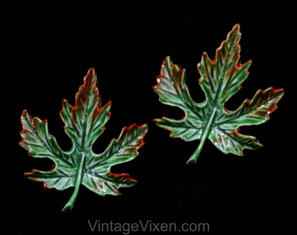 1950s Leaf Brooches - Pair of Scatter Pins - Green & Brown Fall Leaves - Autumn Season - Two Pieces 1960s Classic Jewelry - Gerry's - 50566