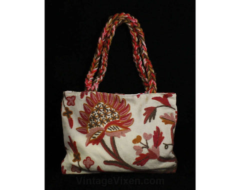 Hippie Chic 1970s Purse - Crewelwork Cotton Canvas Tote with Braided Straps - 70s Summer Boho Handbag - Red Pink Sienna Bohemian Crewel Bag