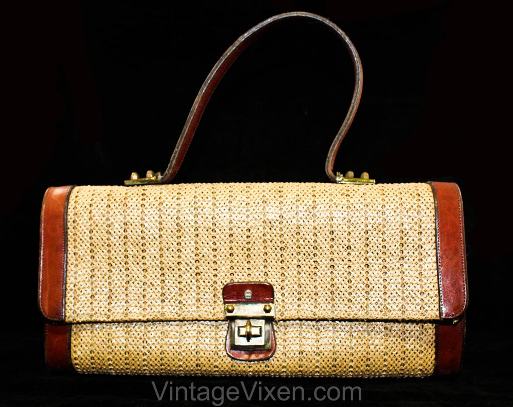 1960s Designer Purse by Etienne Aigner - Natural Woven Raffia, Cognac Leather & Brass Handbag - 60s Artisan Made Preppy Chic Top Handle Bag