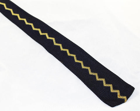 Men's Square End Tie - Navy Blue Knit Zig Zag Striped Necktie - Goldenrod Gold Yellow - Retro Mens Designer - Likely 1930s 1940s Cravat