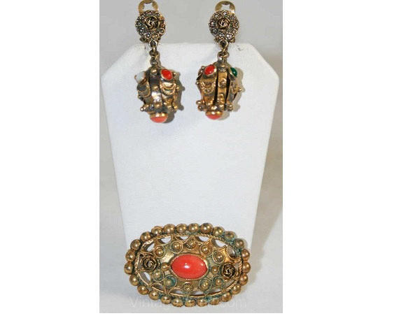 Antique Style 1940s Gold-Filled Earrings & Pin Set - Orange - Demi-Parure - Deadstock - Dangling Earrings - New In Box - 10KT Gold - 40265