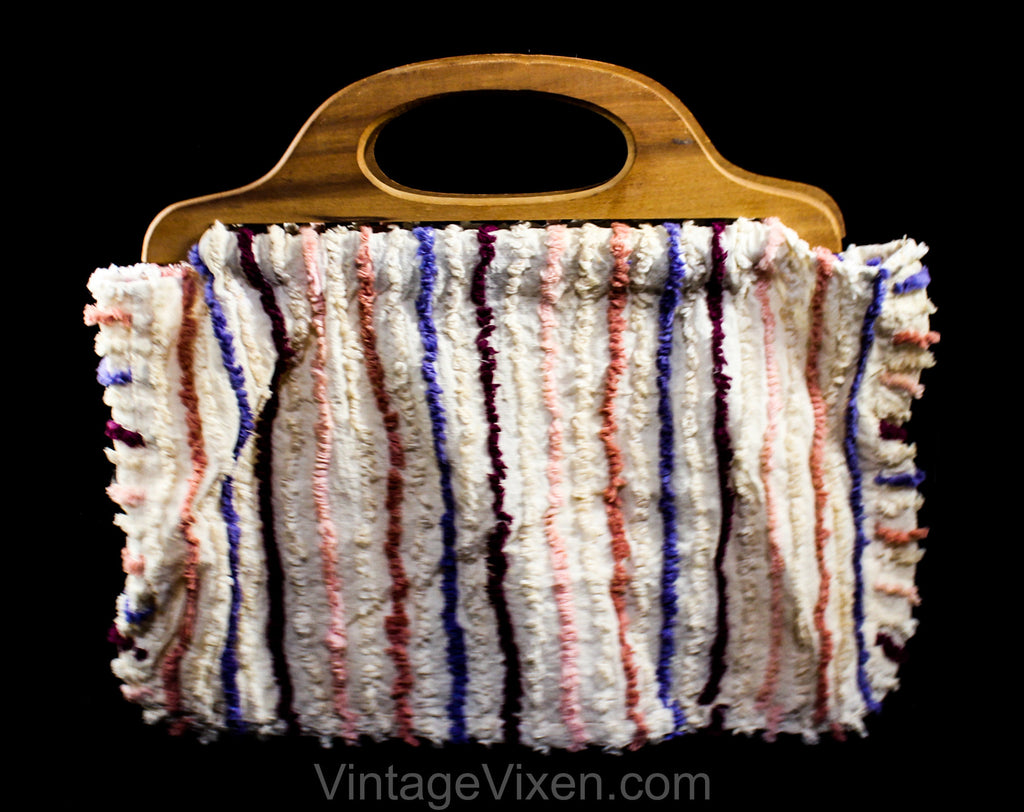 1940s Sewing Handbag - 40s World War II Era Chenille Cotton Purse - Make Do & Mend - Antique Carpet Bag Look - Pink Burgundy Purple Stripes