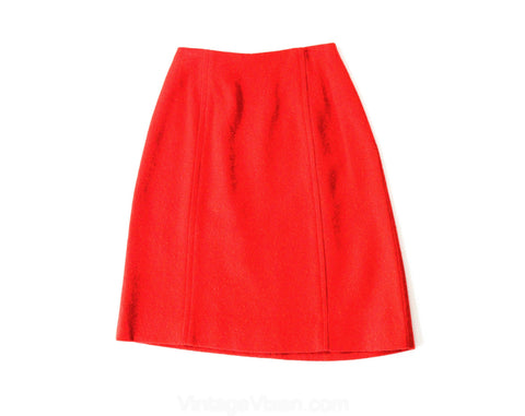 Size 000 Red Tweed Skirt - 1960s Nubby Flecked Office Wear - XXXS 60s Secretary Style Junior Petite Separates - Waist 21 - NWT Deadstock
