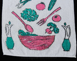 1950s Kitchen Towels - Set of THREE - Kitsch Salad Bowl Graphic - Mid Century Pink & Turquoise Blue 50s Terrycloth - 3 Matched Pcs - 46460