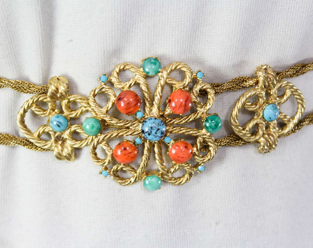 1960s Goddess Belt - Small Medium Large - 60s Body Jewelry - Gorgeous Gold Hue Metal Cord - Faux Coral Orange - Turquoise Blue - Jade Green